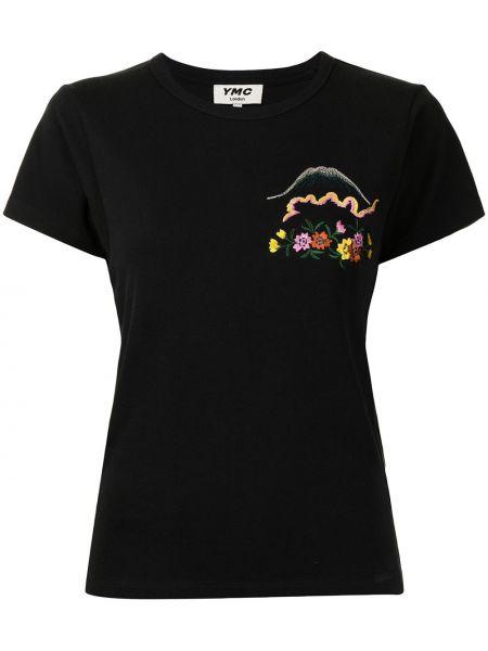 Czarna koszulka prążkowana Ymc
