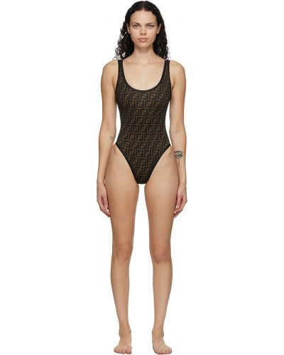Czarny strój kąpielowy z nylonu Fendi