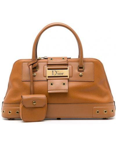 Brązowa złota torebka Christian Dior