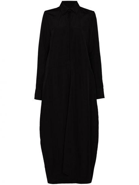 Черное длинное льняное платье с воротником Jil Sander
