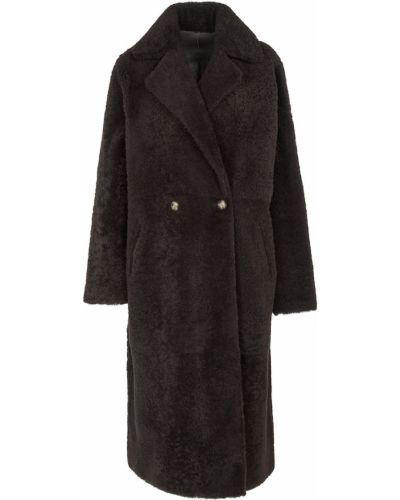 Коричневое прямое пальто Yves Salomon