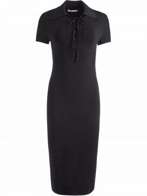 Платье миди с короткими рукавами - черное Alice+olivia
