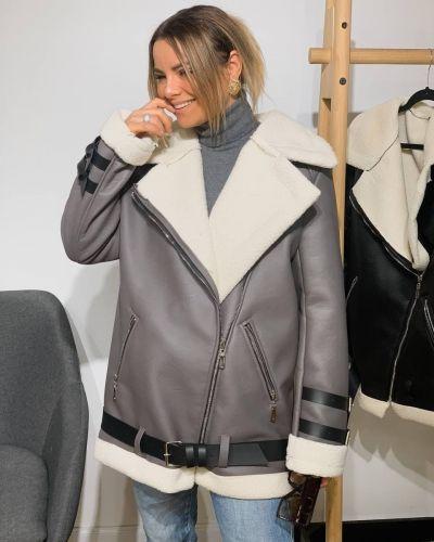Кожаная куртка - серая Rozetka