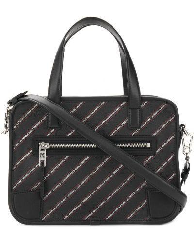 Кожаная сумка в полоску черная Karl Lagerfeld