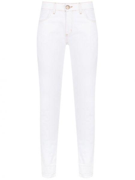 Приталенные хлопковые белые джинсы с поясом Uma   Raquel Davidowicz