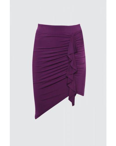Fioletowa spódnica z paskiem Trendyol