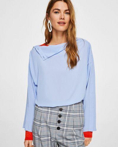 Синяя блузка прямая из вискозы Mango