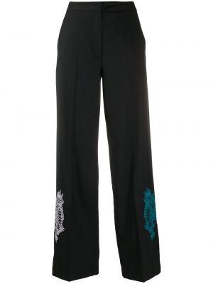 Czarne spodnie z wysokim stanem wełniane Kirin