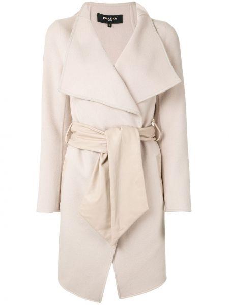Шерстяной белый пиджак с запахом Paule Ka