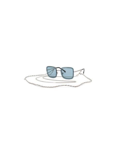 Гипоаллергенные комбинированные муслиновые синие солнцезащитные очки Chanel