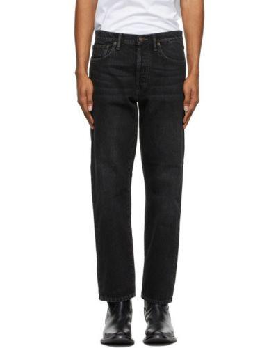 Czarne jeansy skorzane z paskiem Acne Studios