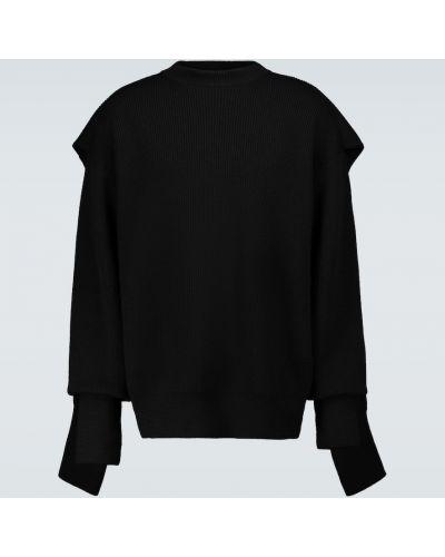 Wełniany czarny sweter z kapturem Balenciaga