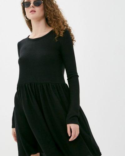 Вязаное трикотажное черное платье Haily's