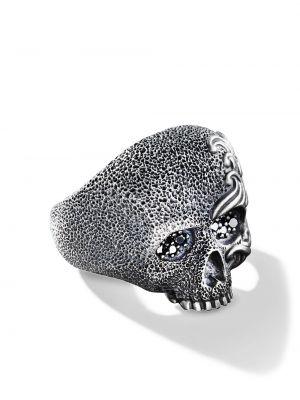 С ромбами черное кольцо с бриллиантом David Yurman