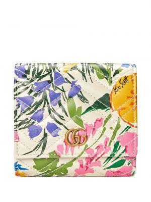 Portfel skórzany pikowany w kwiaty Gucci