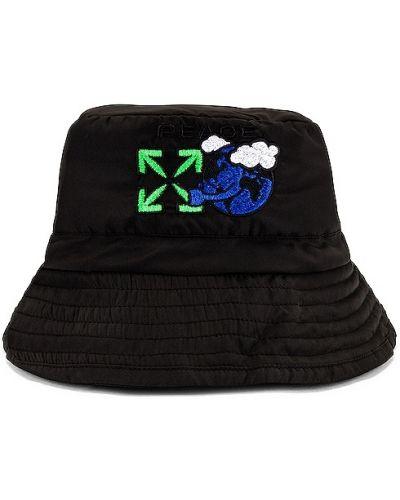 Czarny kapelusz bawełniany z haftem Off-white