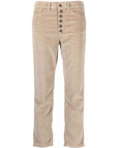 Бежевые укороченные классические брюки Dondup