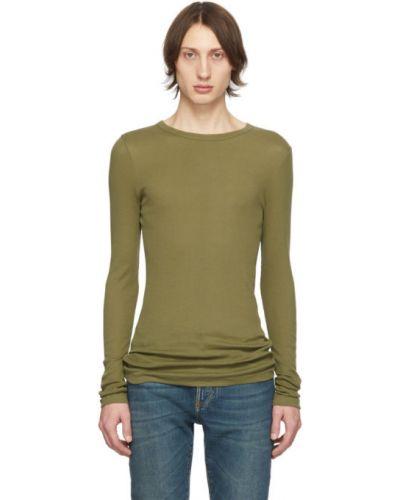 Z rękawami bawełna zielony koszula z kołnierzem Saint Laurent