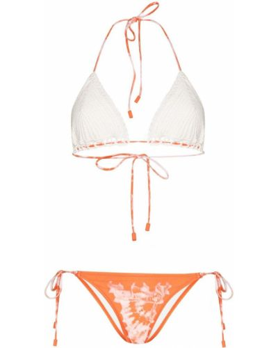 Оранжевые бикини эластичные с завязками Zimmermann