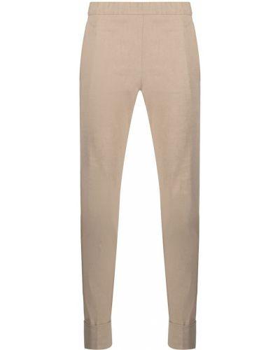 Бежевые льняные укороченные брюки с карманами D.exterior