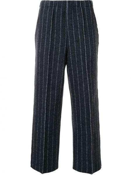 Шерстяные синие вязаные брюки Coohem