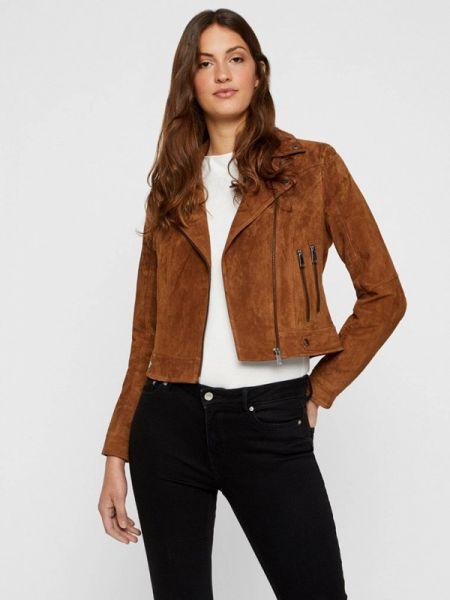 Кожаная коричневая кожаная куртка Vero Moda