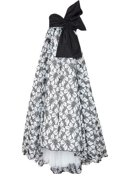 Черное платье макси на молнии с вышивкой Carolina Herrera