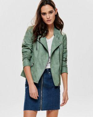 Кожаная куртка весенняя зеленая Only