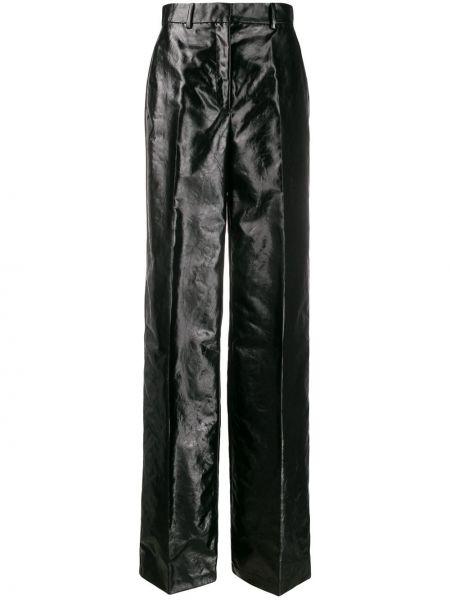 Хлопковые черные брюки с поясом с потайной застежкой Olivier Theyskens