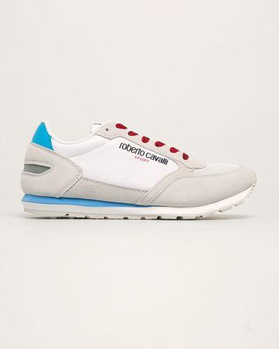 Białe sneakersy skorzane sznurowane Roberto Cavalli Sport