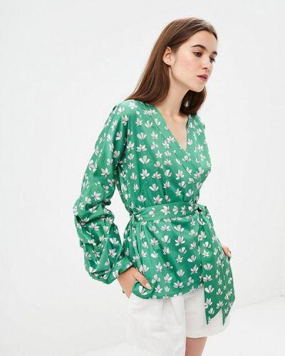 Блузка с длинным рукавом зеленый весенний Emi
