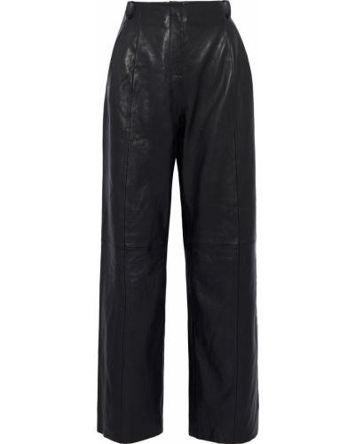 Кожаные черные брюки с поясом Veda