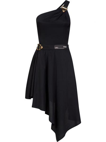 Платье с поясом - черное Versace Jeans Couture