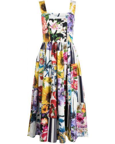Белое платье в цветочный принт с вырезом Dolce & Gabbana