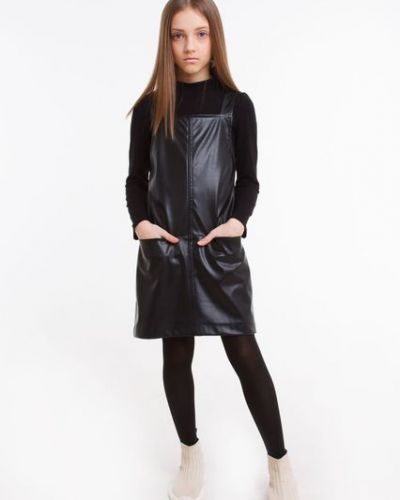 Черный кожаный сарафан Sofia Shelest