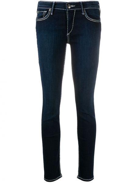 Хлопковые синие облегающие джинсы-скинни на молнии True Religion