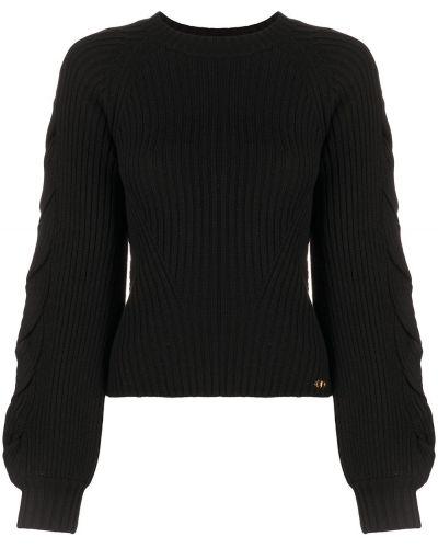 Прямой акриловый черный джемпер с круглым вырезом Elisabetta Franchi