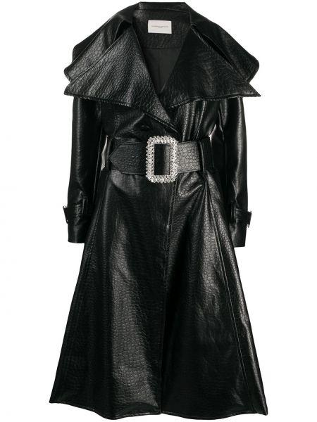 Расклешенное черное пальто классическое с карманами Giuseppe Di Morabito