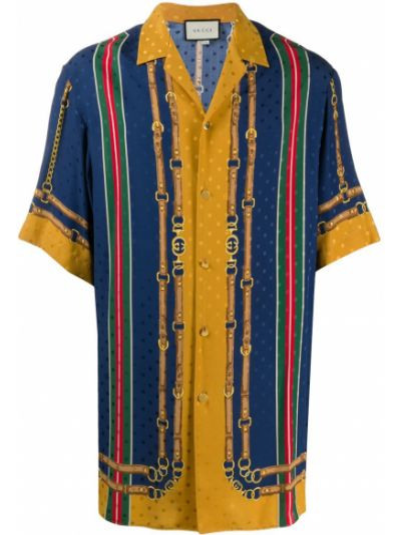 Jedwab niebieski koszula z krótkim rękawem z kołnierzem z paskami Gucci