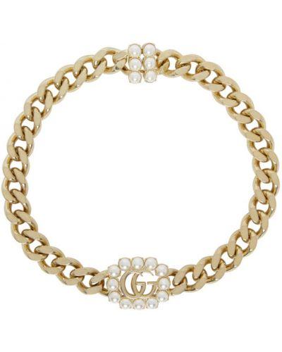 Srebro naszyjnik z perłami metal z perłami na hakach Gucci