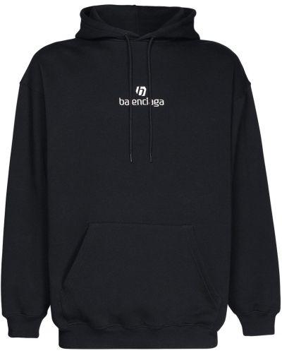 Bawełna czarny bluza z kapturem z haftem z kapturem Balenciaga