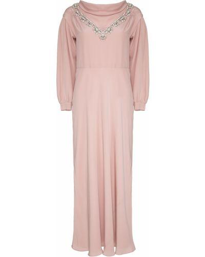 Шелковое розовое платье миди с вышивкой с декольте Miu Miu