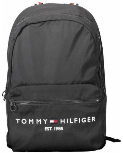 Czarny plecak na laptopa w paski casual Tommy Hilfiger