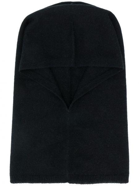 Кашемировая черная балаклава в рубчик с декоративной отделкой Warm-me