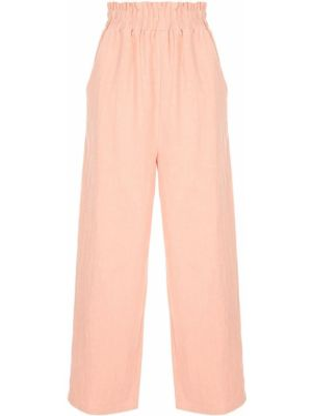 Брючные розовые укороченные брюки с карманами с высокой посадкой Auguste