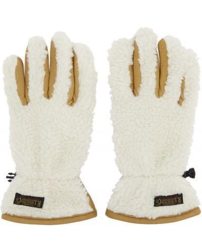 Białe rękawiczki skorzane klamry Polo Ralph Lauren