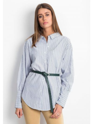 Niebieska koszula bawełniana w paski Fashionhunters