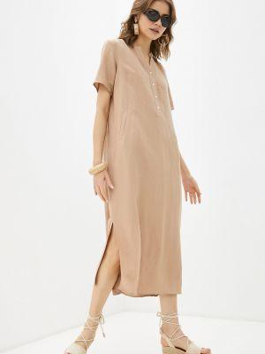 Бежевое платье с карманами из вискозы с разрезами по бокам Baon