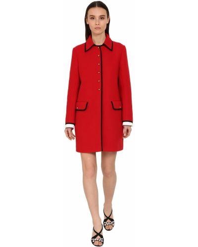 Шерстяное пальто с воротником с карманами Miu Miu