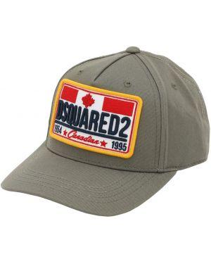 Zielony kapelusz z haftem Dsquared2